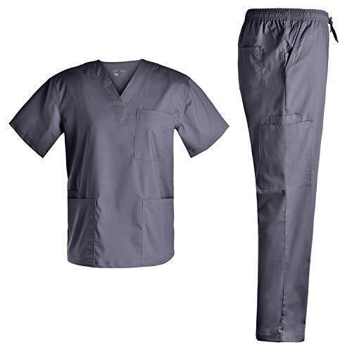 Basic V Neck Nursing Stretch Scrubs - Medical Scrubs for Men Stretch Plus Size Uniforms Set Top and Pants Scrubs Set JY7301 (Pewter,S) ()