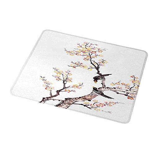 Gaming Mouse Pad Custom Design Mat Art Traditional Chinese Paint of Flowers Plum Blossom Birds on Tree Romance Print Non-Slip Rubber Base Ideal for Keyboard PC and Laptop 9.8