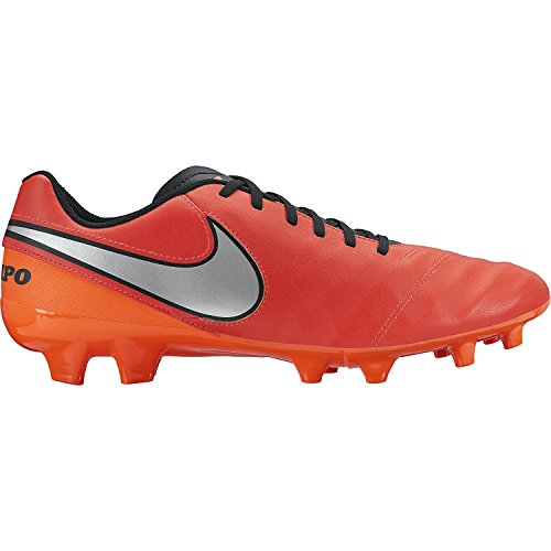 Nike Men's Soccer Cleats Tiempo Genio II Leather FG Crimson Cleats (6.5)