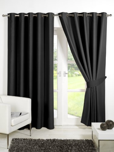 Viceroybedding Pair Of BLACK 46 Width X 54 Drop Supersoft Thermal Blackout Curtains