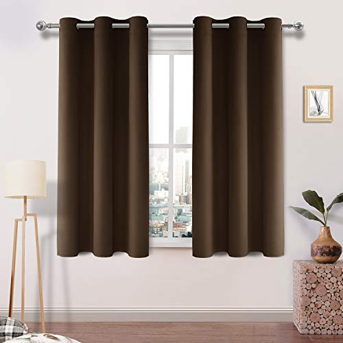 - DWCN Blackout Curtains Room Darkening Thermal Insulated Grommet Window Curtain for Bedroom Living Room 38 x 45 Inch 2 Panels, Brown Thick Curtain