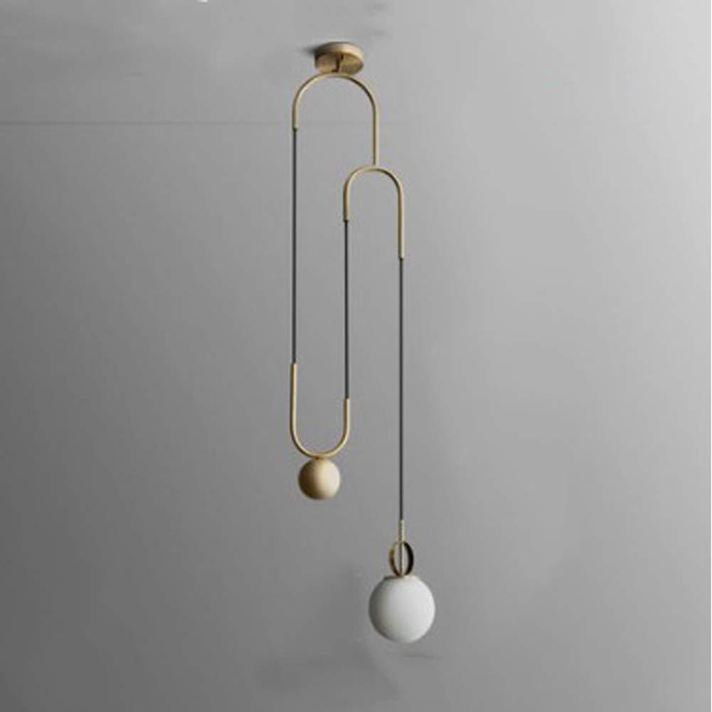 DECORATZ LED Modern Simple Design Ceiling Light, E27 Screw Metal Pedant Light Glass Lampshade Single Head Chandelier Fixture for Hallway Bedroom Living Room-Gold
