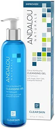 Andalou Naturals Citrus Kombucha Cleansing Gel, 6 oz., For Oily or Overreactive Skin, Helps Clarify & Cleanse Pores for a Glowing Complexion