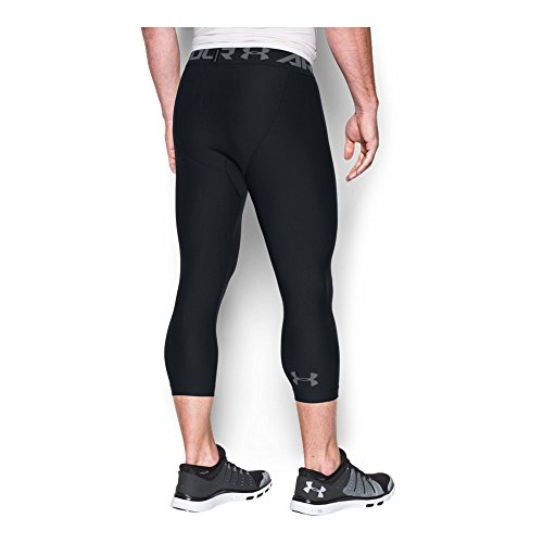 Under Armour Men's HeatGear Armour Compression ¾ Leggings, Black/Graphite, Small