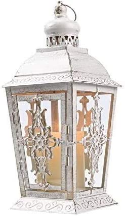 White with Gold Brush JHY DESIGN Decorative Lanterns 13 High Metal Candle Lanterns Vintage Style Hanging Lantern for Indoor Outdoor Events Parities Weddings