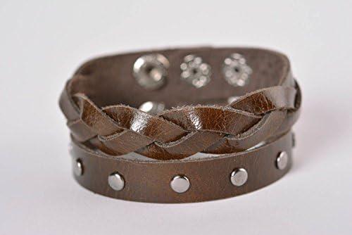 0b0b64882fc4 Pulsera de cuero ancha hermosa bisuteria artesanal regalo original para  mujer