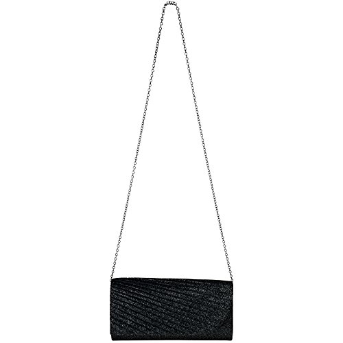 Femme Clutch Motif Avec Stylé Brillante Drapé Pochette Noir Élégante De Ta401 Pour Caspar Paillettes Soirée xzFCw1v1Pq