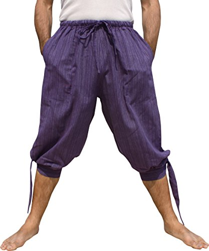 Raan Pah Muang Side Tied Leg Striped Cotton Buccaneer Swashbuckler Pirate Pants, Small, Violet