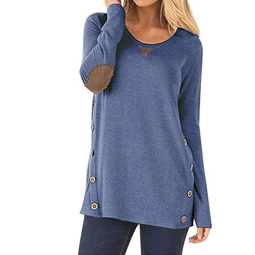 Nhicdns Women's Blue Casual Long Sleeve Blouse Sweatshirt Faux Suede Loose Tunic Button Blouses Shirt Tops ()