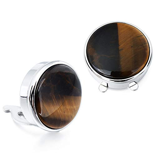 HAWSON Stone Button Covers Cufflinks for Men Shirt - Best Gifts for - Cufflinks Stone Eye Tigers