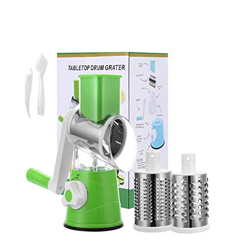 Manual Rotary Cheese Grater, Round Mandoline Slicer with Strong Suction Base, Vegetable Slicer Nuts Grinder Cheese Shredder