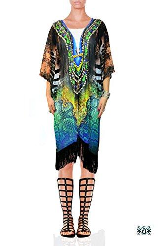 Devarshy Exotic Snake Animal Print Designer Georgette Robe Short Kimono (Animal Print Georgette Tunic)