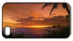 Hipster indestructible iPhone 4S cover Beautiful Sunset Beach PC Black for Apple iPhone 4/4S