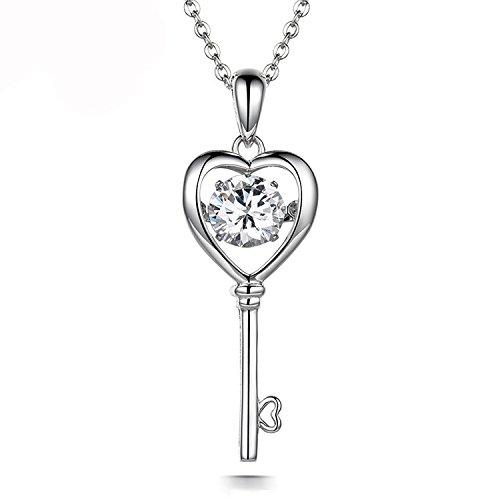 "ZowBinBin Heart Key Necklace - 925 Sterling Silver Heart Key Pendant Necklace,""Open Her Heart"" Key Charm Necklace 18'' With Dancing Diamond CZ Key Pendant for Women Sterling Silver Heart Key"
