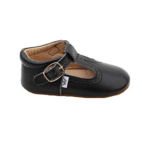 Mary Jane T-bar T-Strap Oxford Soft Sole Crib Shoes Leather (0-6 Months, Black) ()