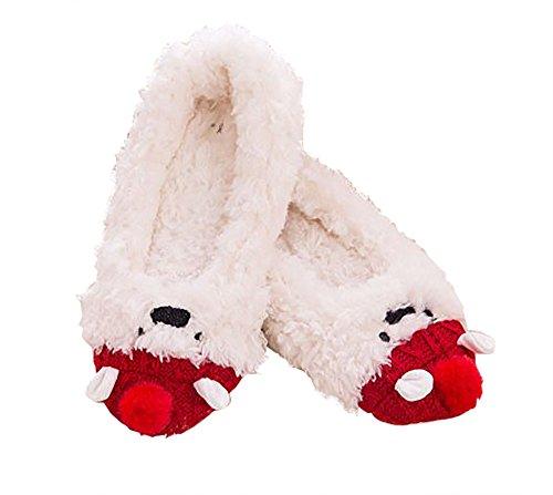 TOKYO-T Xmas Slippers For Women Fluffy Animal Fuzzy Shoes White Christmas Size 7 (Fur Feet Polar Bear)