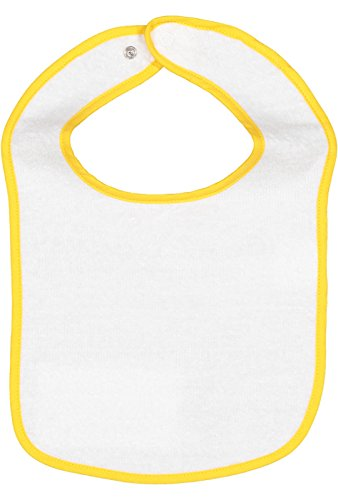 Rabbit Skins Infant 100% Cotton Terry Contrast Trim Snap Bib (Gold, One Size Fits All)