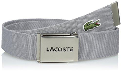 Lacoste Men's Men's Textile Signature Croc Logo Belt, Platinum, (Cotton Embossed Belt)