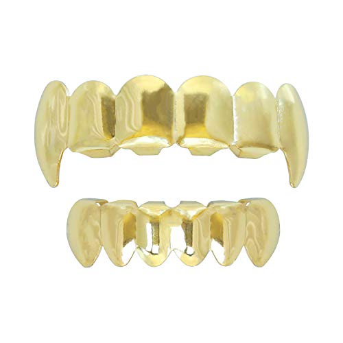 Gold Grillz Teeth Set Best gift for Son-New Custom Fit 14k Plated Gold Grillz - Excellent Cut for All Types Of Teeth - Vampire caps Top and Bottom Grill Set - Hip Hop Bling Grillz -