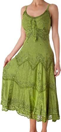 AA4012 - Stonewashed Rayon Embroidered Adjustable Spaghetti Straps Long Dress ( Various Colors & Sizes ) - Green/S/M