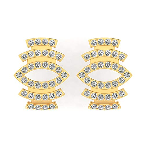 ASHNE JEWELS IGI Certified 0.35 Carat Round-Shape Natural Diamond (G-H Color, I1-I2 Clarity) 14K Yellow Gold Stud Earrings For Women