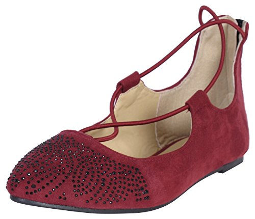 Sequin Ballet Flat - 'Eddie Marc Toddler Girls and Big Girls Ballet Flat with Sequins and Ankle Straps, Burgundy, Size 9'