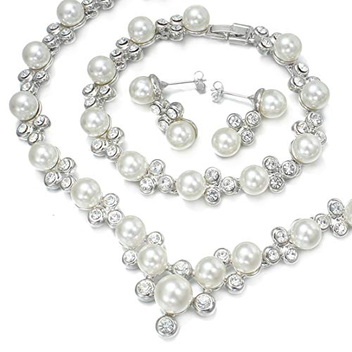 - VenFashion #050 Clear Crystal Pearl Strand Necklace Earrings Bracelet Set Bridal wedding Party Prom Gift