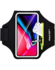 Cell Phone Running Armband with Airpods Zipper Pocket Armband Case Running Holder for iPhone 12 Pro Max/12 Pro /11 Pro Max/11/11Pro/XR/XS,Galaxy S20 S10 S9 Plus,Sweatproof Arm Band with Card/Key Bag