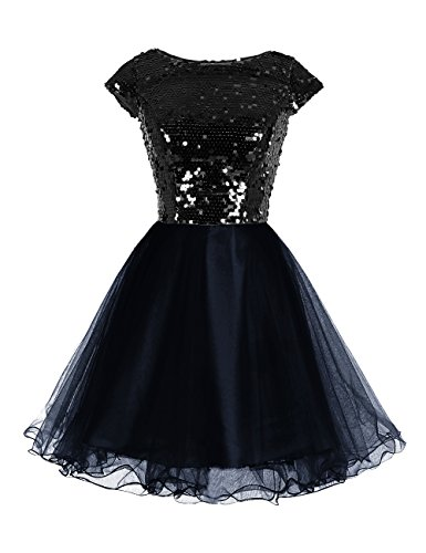 [Wedtrend Women's Short Tulle Prom Dress Cocktail Dress with Sequins 2 Black WT10153] (Womens Black Sequin Short Dress)