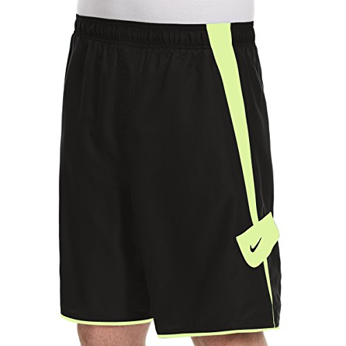 NIKE Men's Volley Core Swim Shorts (Small, Black/Volt) (Shorts Elastic Nike Waist)