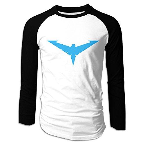 Men Nightwing Logo Long Sleeve T-Shirt Black