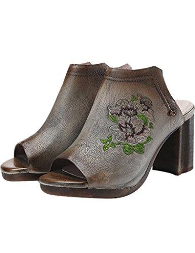 Youlee Mujeres Verano Bordado Tacón Alto Sandalias Cuero Zapatos Gris
