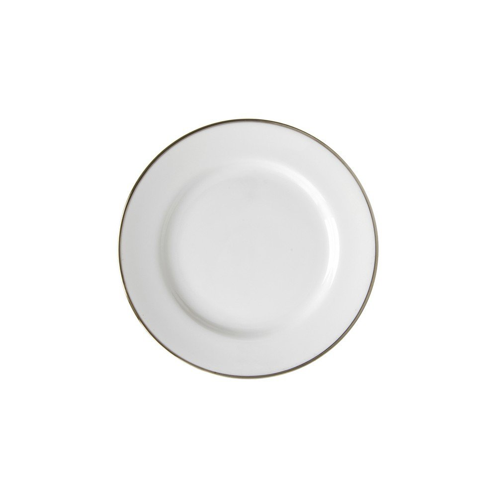 10 Strawberry Street Silver Line 6.75'' Bread & Butter Plate, Set of 6, White/Silver