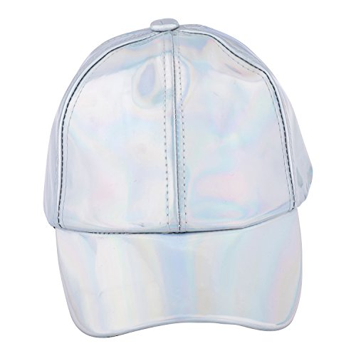 Baseball Cap Adjustable Strap - JOTW Unisex Holographic Baseball Caps with Adjustable Straps- Available in 3 Colors (Silver)