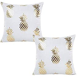 "WOMHOPE 2 Pcs - 17"" Geometry Gold Hot Stamping Super Soft Short Fuzzy Cushion Decorative Pillow Covers Square Throw Pillowcase Cushion Covers for Sofa,Bed (Pineapple (2 Pcs))"