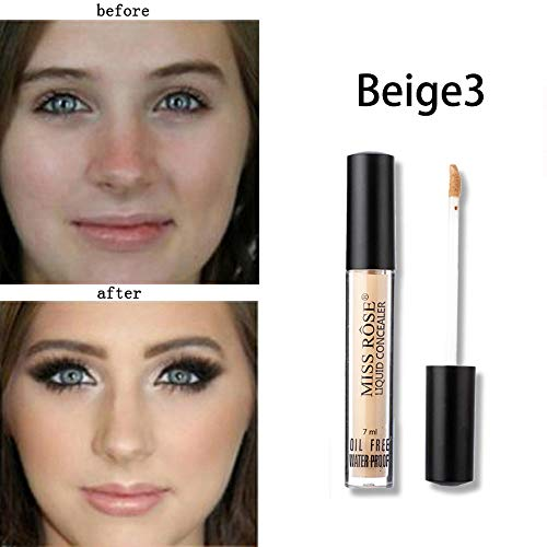 Foundation Makeup, Miss Rose Concealer Waterproof Lasting Contour Concealer Different Shades 7ML
