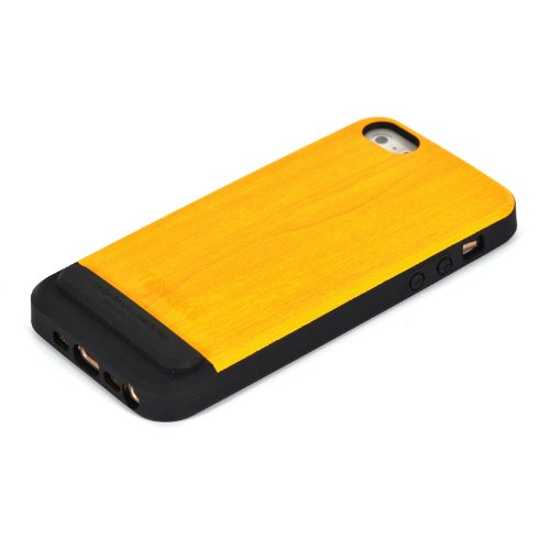 - Tridea TONGKE iPhone 5s Case Italian Premium Wood Finish Back TPU Gel Case Skin Cover - YELLOW - for Apple iPhone 5S / 5