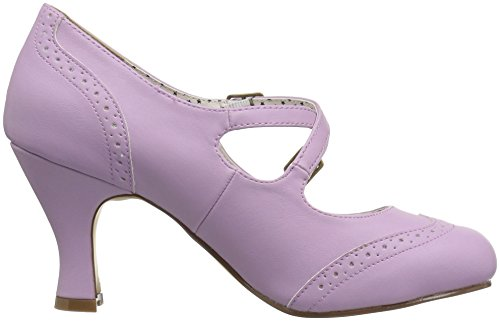 Scarpe Tacco Flapper Col 35 Donna Couture Leather Faux Punta Lavender Up Pin Chiusa XIwxYaE