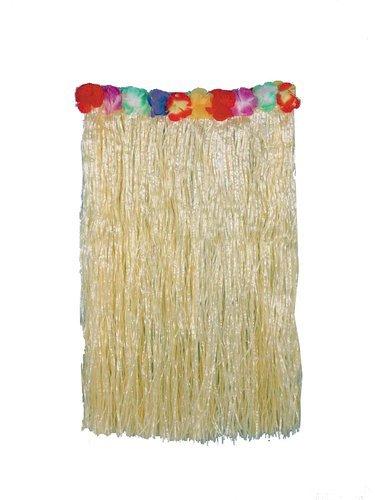 [Forum Novelties Hawaiian Hula Dancer Deluxe Straw Grass Skirt with Flower Trim] (Hawiian Costumes)