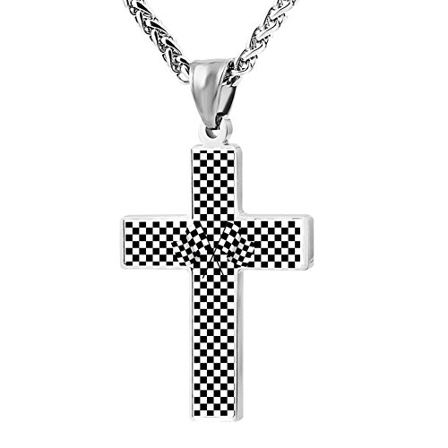 (Hei Bai.J Cross Pendant Necklace Black & White Racing Checkered Flag Christian Religious Jewelry For Men and Women)