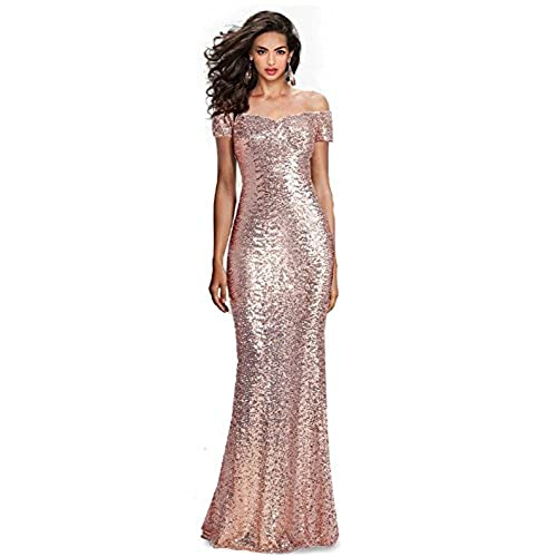 SUMINTRAS Fabulous Sequined Off-The-Shoulder Sweetheart Sequin Long Formal Form Fitting Prom Evening Dress (2, Rose Gold(Blush))
