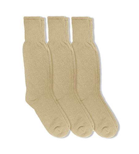 Calf Boot Socks (Jefferies Socks Military Combat Mid Calf Boot Socks 3 Pair Pack (Sock: 10-13/Shoe: 9-12, Dessert Sand))