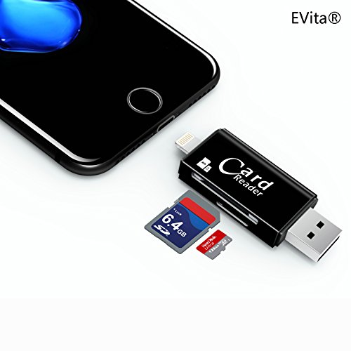 EVita Lightning to SD Card Camera Reader Adapter, SD Card TF Card 2 in 1 with USB 3.0/2.0 for Apple iPhone 5/5S/6/6S/SE/7/7 Plus/8 and iPad(Black)