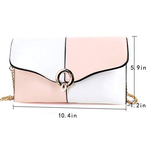 Ladies Wristlet Bag leather Purse Goodbag large Body PU Pink Cross Envelope Evening Boutique Clutch Bag Women qxz0RF