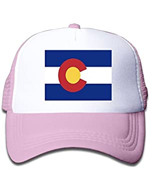 Flag Of Colorado Boy & Girl Grid Baseball Caps Adjustable sunshade Hat For Children