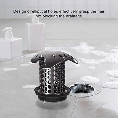 LEKEYE Drain Hair Catcher/Tub Drain Cover/Bathtub Shower Drain Protector/Strainer/Stainless Steel and Silicone-Gun Color