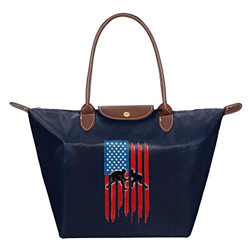 Dianqusha American Flag Wrestling Folded Messenger Nylon Bag Dumplings Travel Tote Hopping Folding School Handbags Navy by Dianqusha