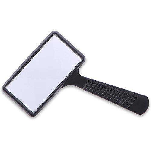 Rectangular Handheld Magnifier Magnifying Glass (3X Magnification) - Easy to Store/Carry - Large Horizontal Viewing Area for Reading Small Prints & Low Vision