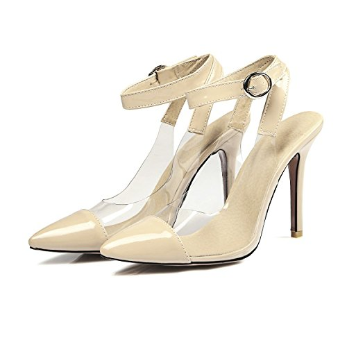 CSDM donne grandi dimensioni Summer Stiletto Heel Sandali femminile Splicing trasparente fibbia tacchi alti , apricot , 40 custom 2-4 days do not return