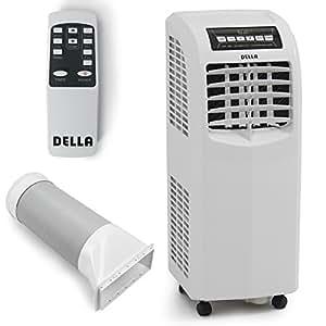 DELLA 048-GM-48266 8,000 BTU Portable Air Conditioner Cooling Fan Dehumidifier A/C Remote Control + Window Vent Kit, White